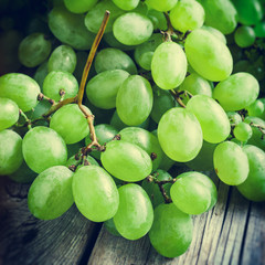 grapes on wooden rustic table