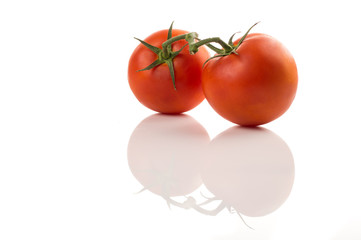 Red tomatoes with stems on white isolated background