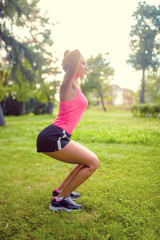 skinny woman in park, doing squats and running at sunset