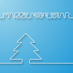 Silhouette of text and fir-tree on a light blue background