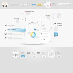 Technology website template with icons