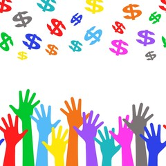 Business background - colorful hands and dollar sign
