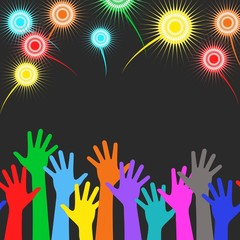 Holiday background - colorful hands, colorful firework