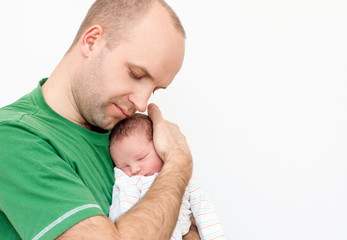 happy father with newborn