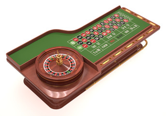 Roulette Table Over White. Clipping path included.
