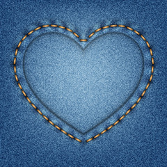 Denim texture with stitches in the shape of heart