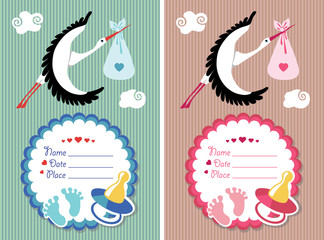 Baby shower invitation with new born baby