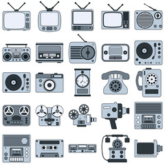 Retro electronic vector icons