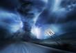 Leinwandbild Motiv Powerful Storm and Tornado