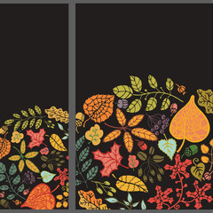 Autumn vertical banner set.Leaves,branches,berries,acorn
