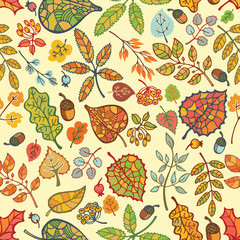 Autumn seamless pattern,Bright  leaves, branches,acorn