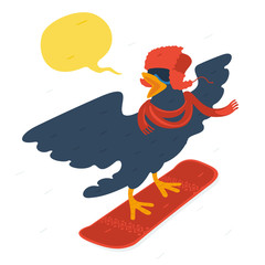 Bird goes snowboarding