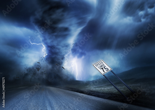 Foto op Canvas Onweer Powerful Storm and Tornado