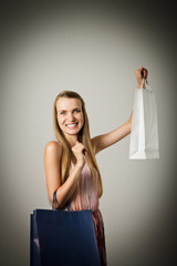 Girl and paper bags.