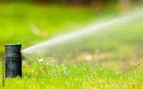 Gardening. Lawn sprinkler spraying water over grass. - 69179268