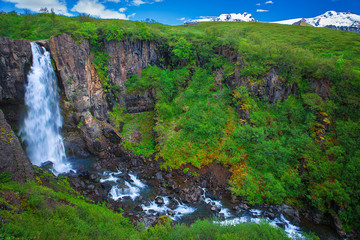 Amazing waterfall at the south side of Iceland