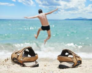 Vacation sea jump