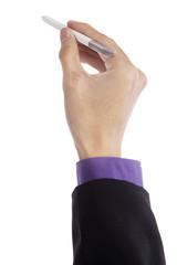 Businessman holding stylus pen