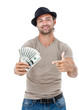 Smiling man holding money