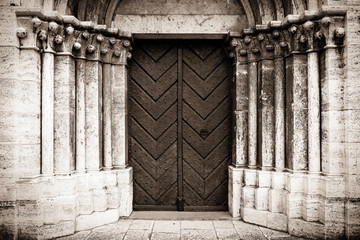 Detail of portal leading to the Cathedral - sepia tone image