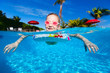 canvas print picture - Little girl at swimming pool