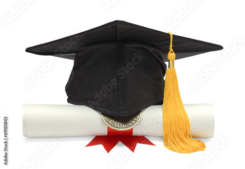Diploma and Black Grad Hat - 69180843