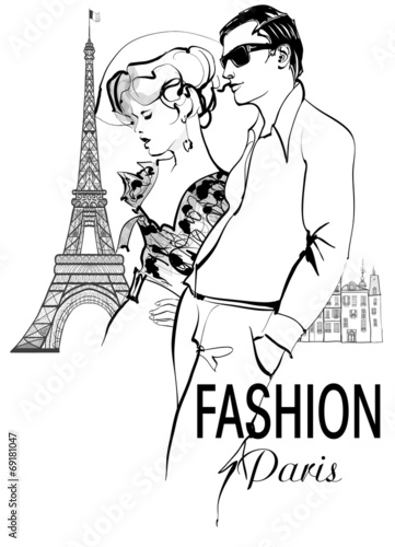 Fototapeta Fashionable couple strolling and shopping in Paris