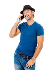 Handsome young man talking on the phone