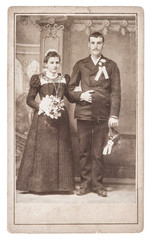 vintage wedding photo. just married couple. antique picture