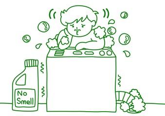 洗濯機で体を洗う男性