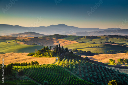 Scenic Tuscany landscape at sunrise, Val d'Orcia, Italy - 69182693