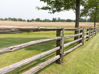 Farmland with rustic fence
