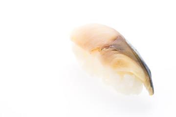 Saba sushi isolated on white