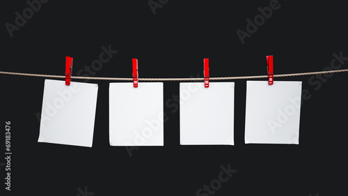 canvas print picture Paper cards hanging on the rope
