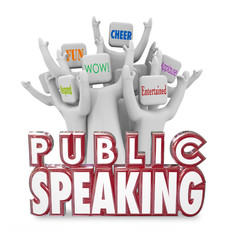 Public Speaking People Audience Cheering Entertaining Fun Speech