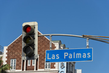 LA Hollywood Las Palmas street sign