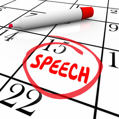 Speech Date Circled Calendar Important Speaking Engagement Remin