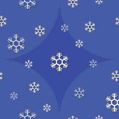 seamless background of snowflake on blue tone vector
