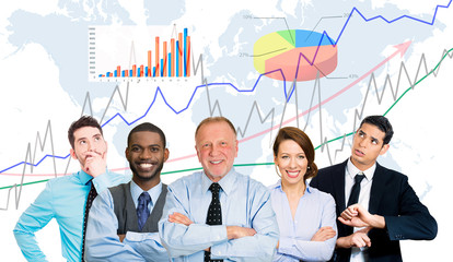 Businesspeople team leader finance graph chart background