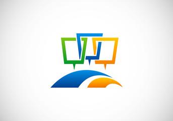 abstract talk speech vector logo