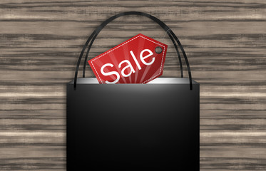 Black Sale Bag Wood Background
