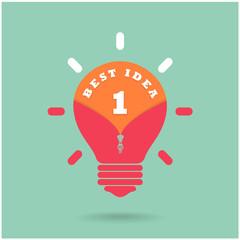 Creative light bulb Idea concept with  the best idea concept on