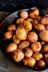 whole fried potatoes with meat