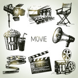 Movie and film set. Hand drawn vintage illustrations - 69184802