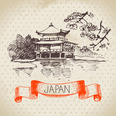 Hand drawn Japanese illustration. Sketch background