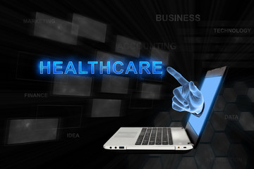 pointing hand healthcare with digital background