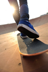 skateboarding on sunrise skatepark