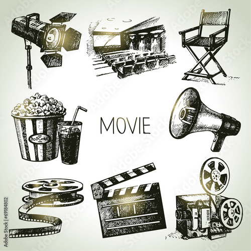 Movie and film set. Hand drawn vintage illustrations - 69184802