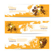 Set of honey banners with hand drawn sketch illustrations - 69185294