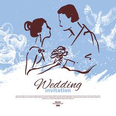 Wedding invitation card. Vintage sketch  illustration